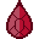 Pixel art of a cut, red gem, meant to resemble red onyx.