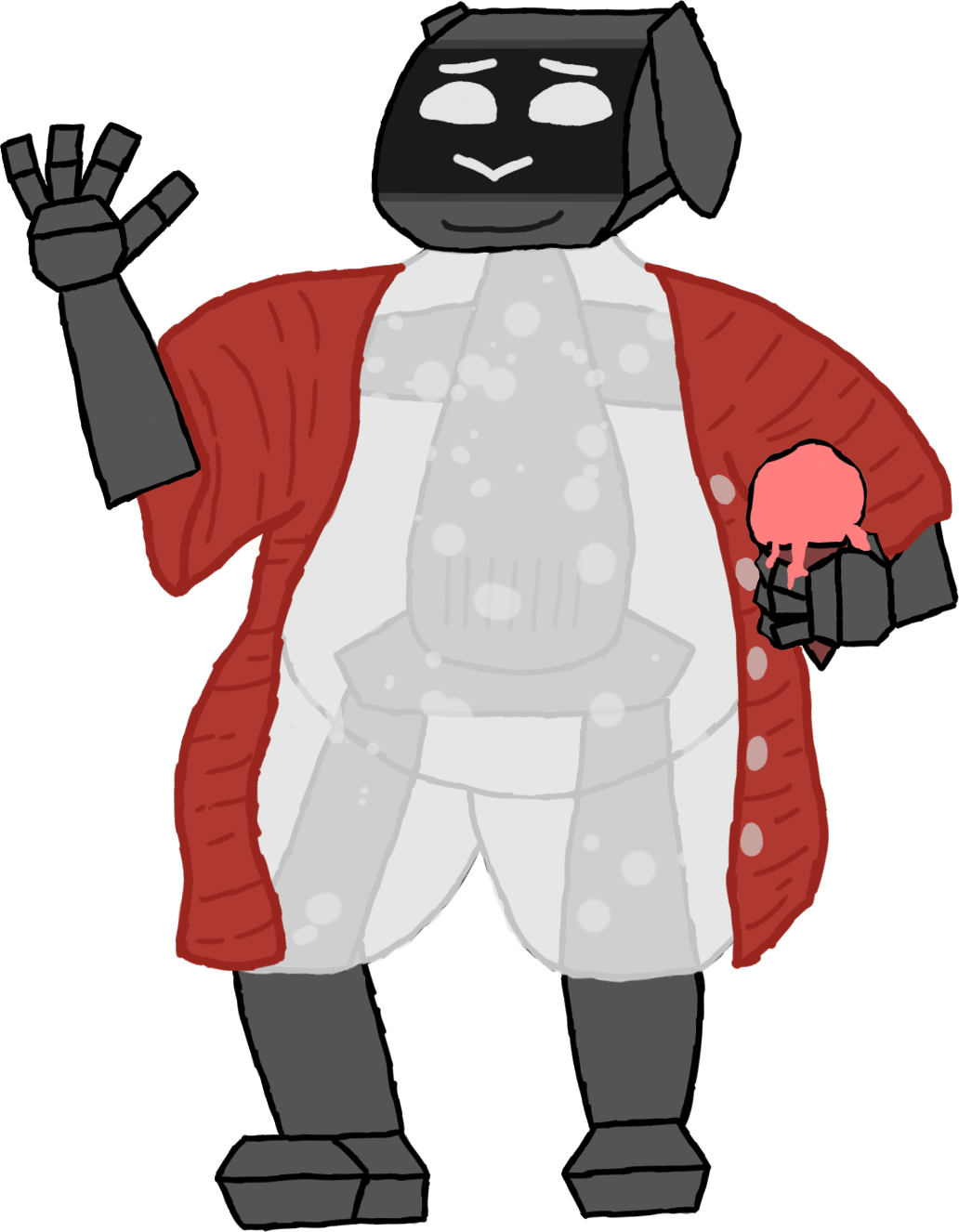 A very fat, four-foot tall, robot bunny lady. She is waving, smiling, and holding a strawberry ice cream cone. Her eyes and nose are a display, and most of her body has a soft layer that acts as a robotic analog to fat.