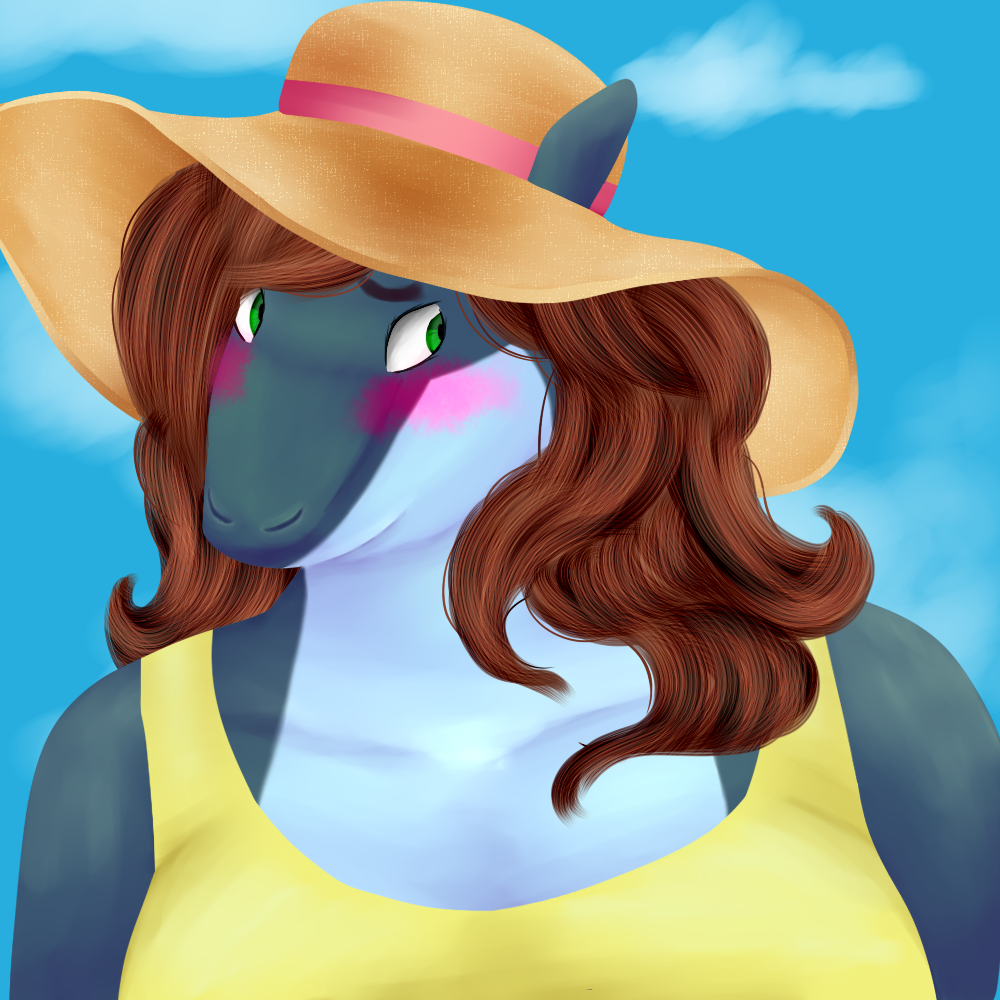 A very fat shark boy, blushing hard and looking embarassed. He's blue-grey and white, with brown, shoulder-length hair. His eyes are green. He's wearing a yellow sundress, and a sun hat with a pink ribbon.