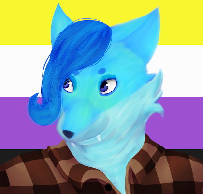 A very fat slime fox demigirl. She's wearing a brown flannel. The background is a non-binary pride flag.